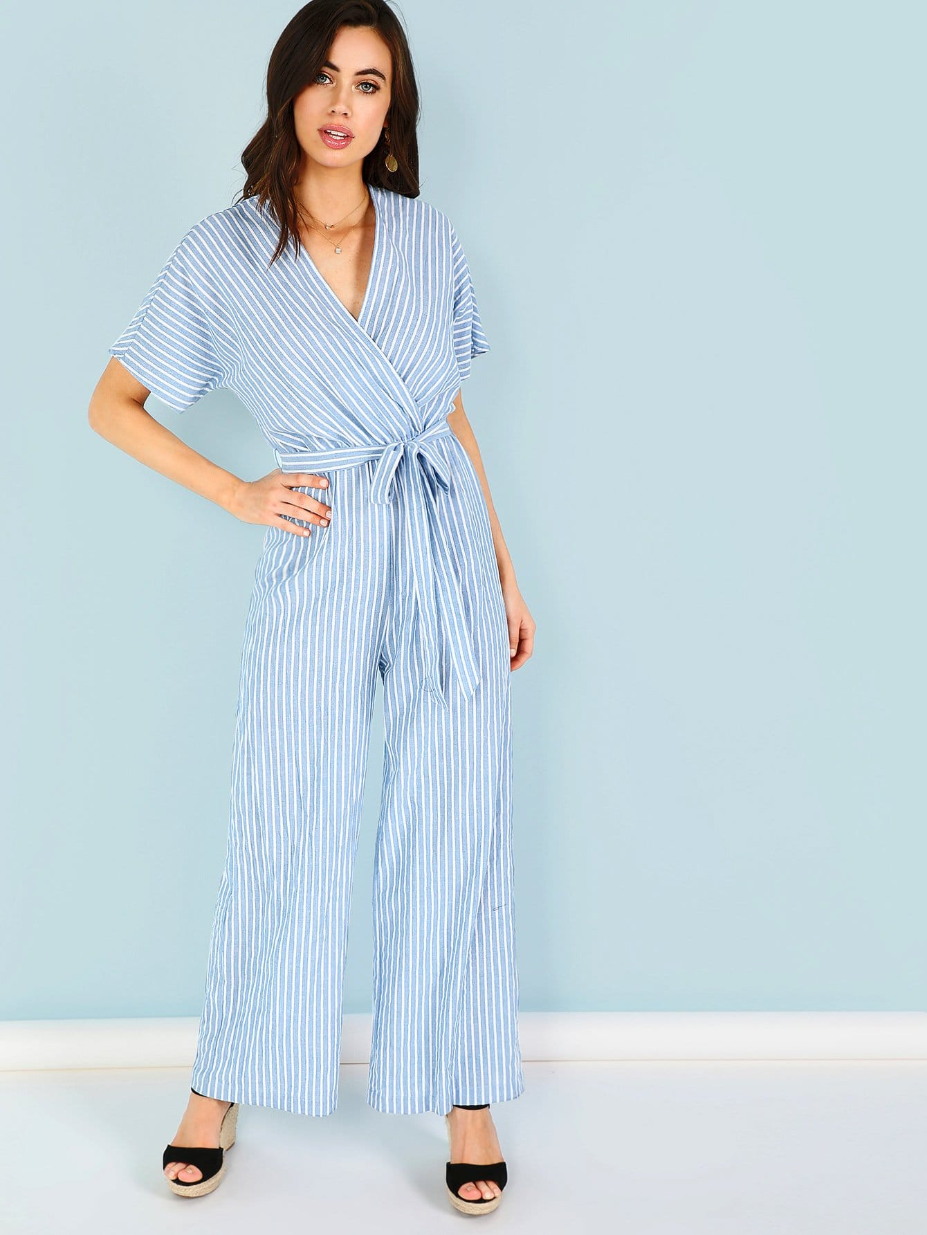 Surplice Neck Self Belted Striped Jumpsuit surplice neckline self tie cami jumpsuit