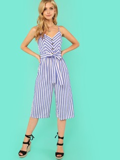 Button Accent Wide Leg Belted Cami Jumpsuit