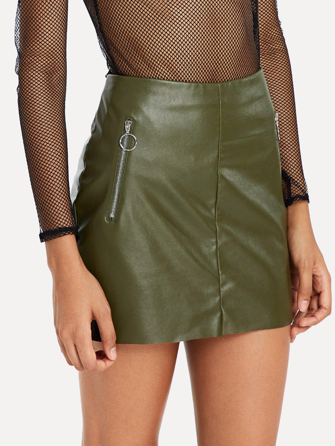 Купить O-Ring Zip Detail Искусственная кожаная юбка, Hannah Mavestrand, SheIn