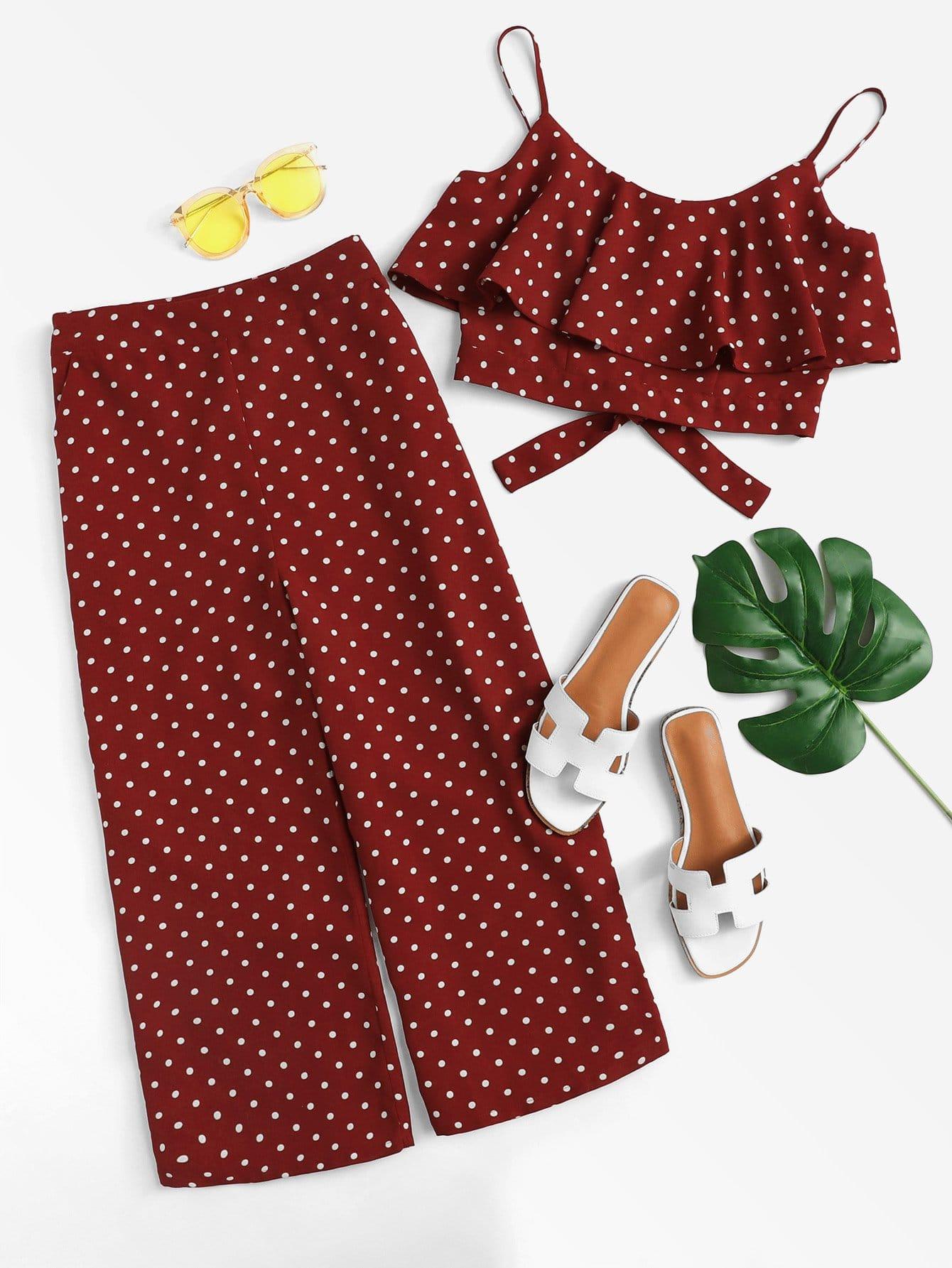 Polka Dot Flounce Trim Crop Cami Top & Pants Set black choker sleeveless crop top
