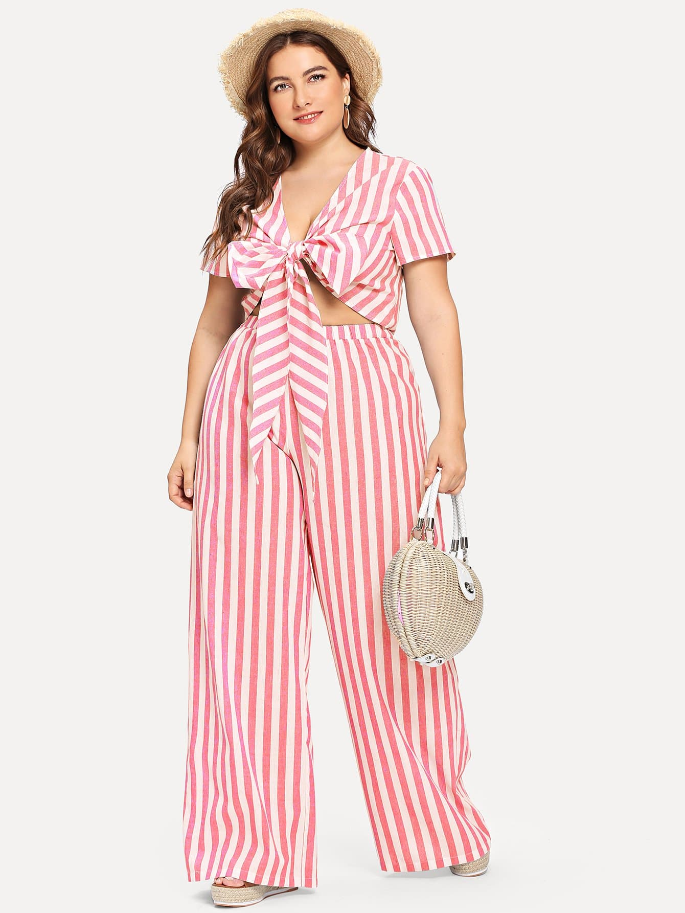 Plus Striped Knot Front Crop Top & Wide Leg Pants Set black choker sleeveless crop top