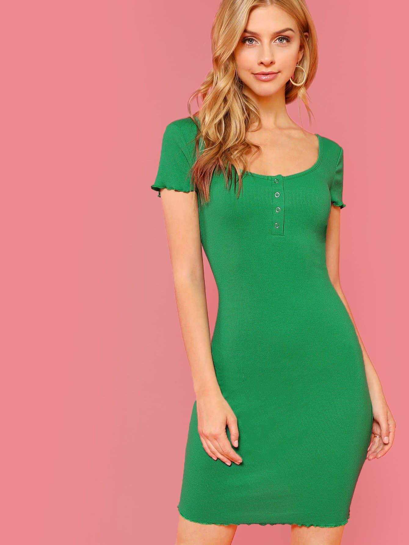 Button Front Lettuce Trim Rib Knit Dress button front rib knit top