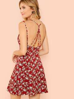 Strappy Back Floral Cami Dress