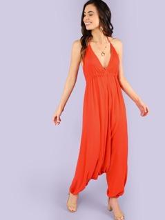 Knot Open Back Elastic Hem Oversized Cami Jumpsuit