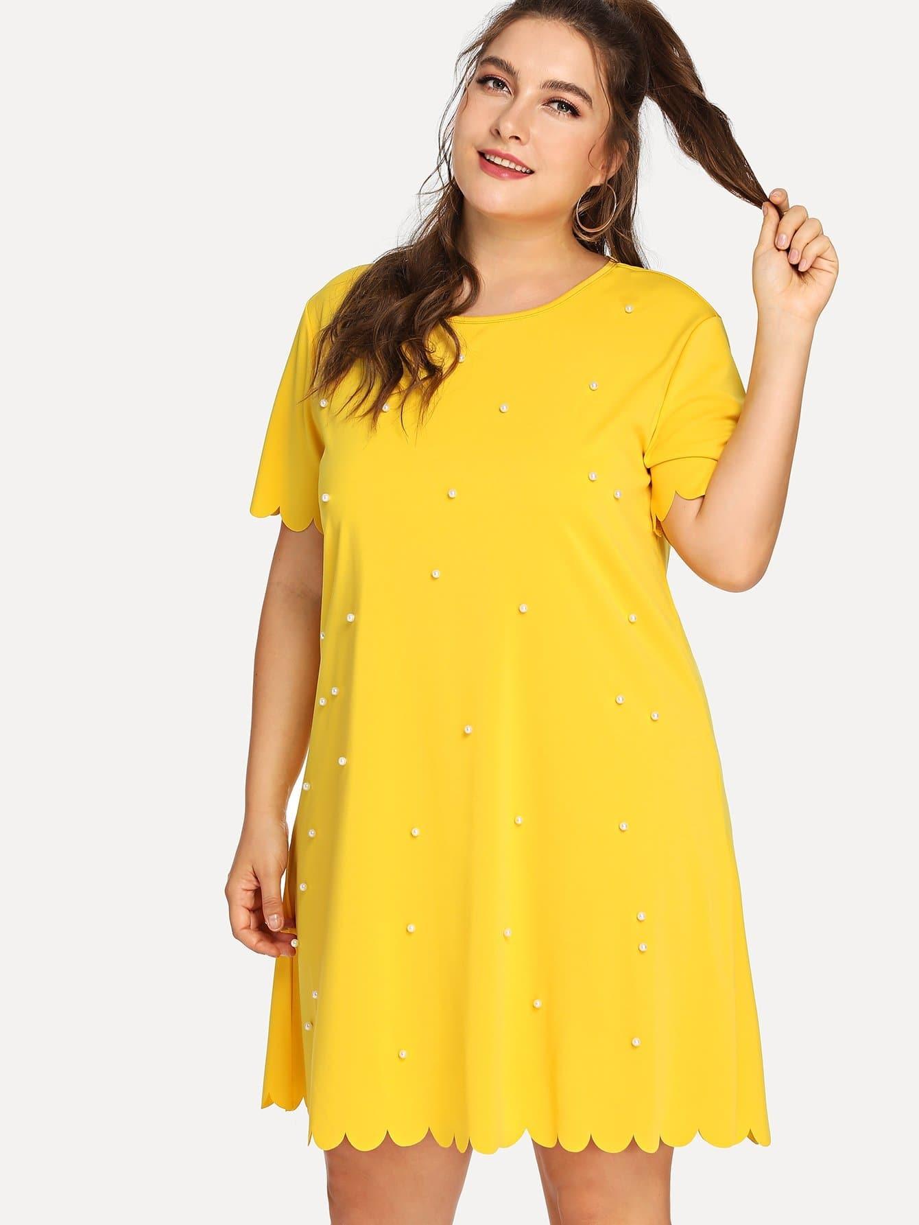 Beaded Scallop Trim Dress