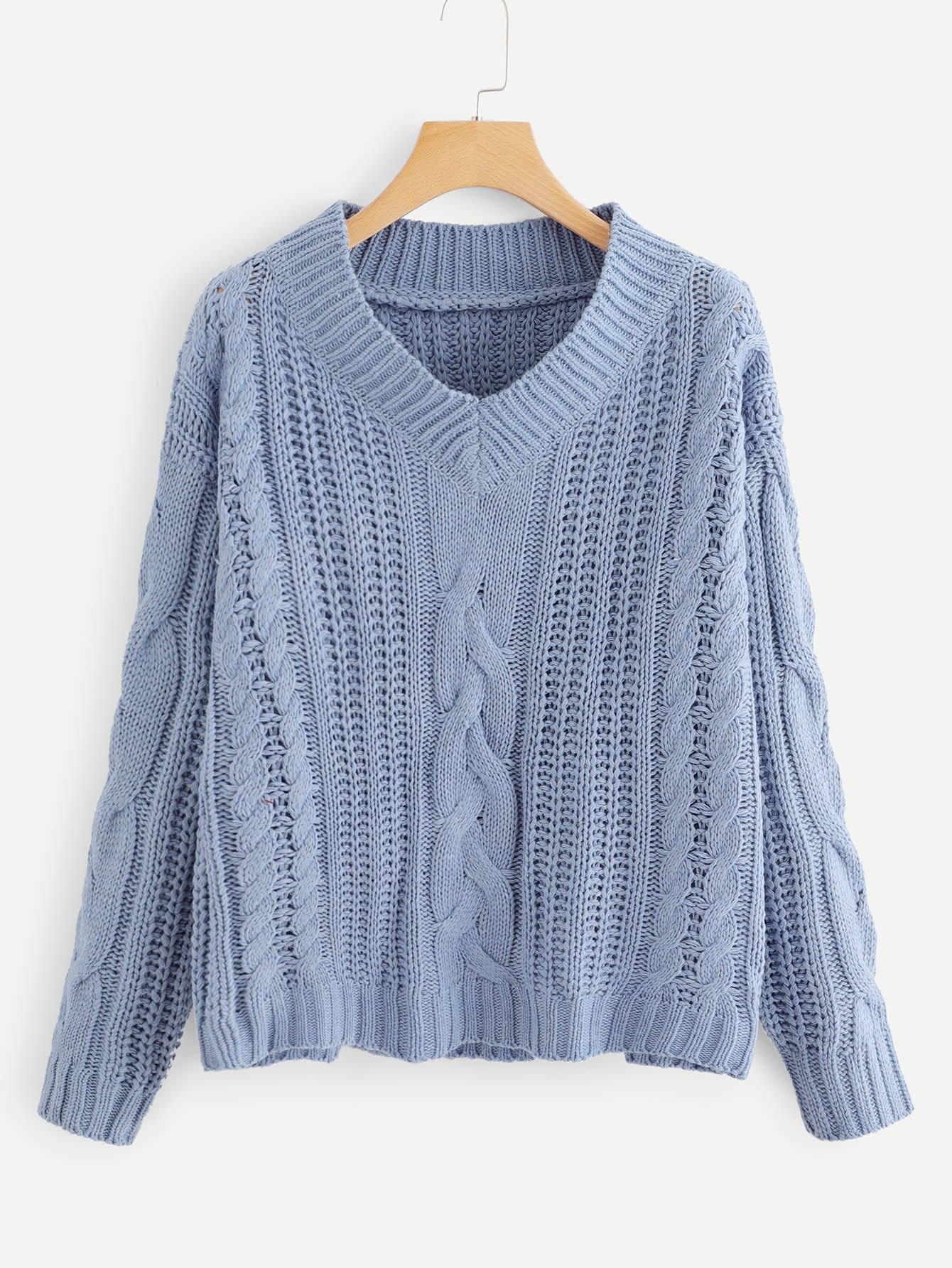 Cable Knit V-shape Sweater