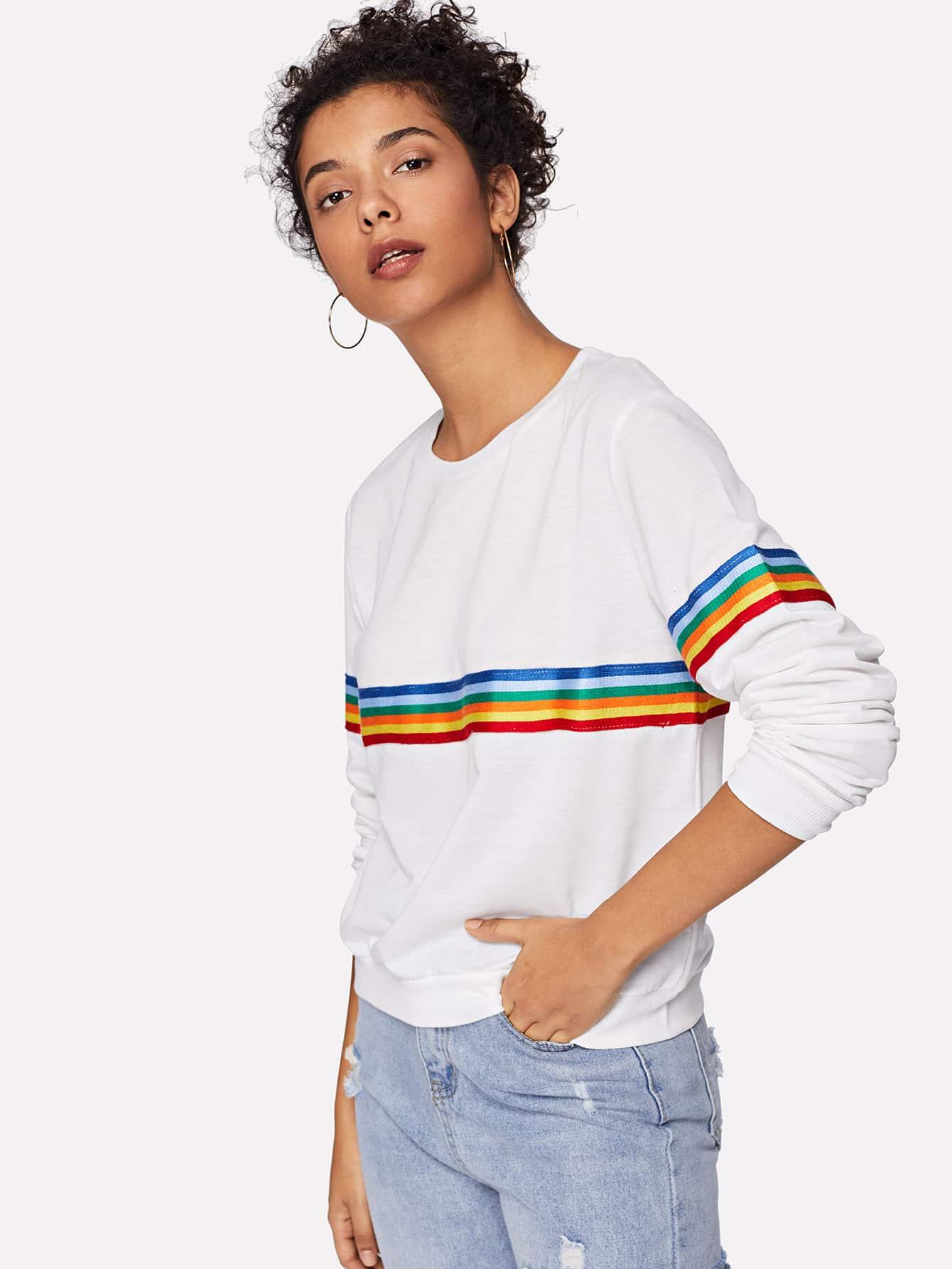 Купить Повседневный Полосатые изображения Пуловеры Белый Свитшоты, Starl Lane, SheIn