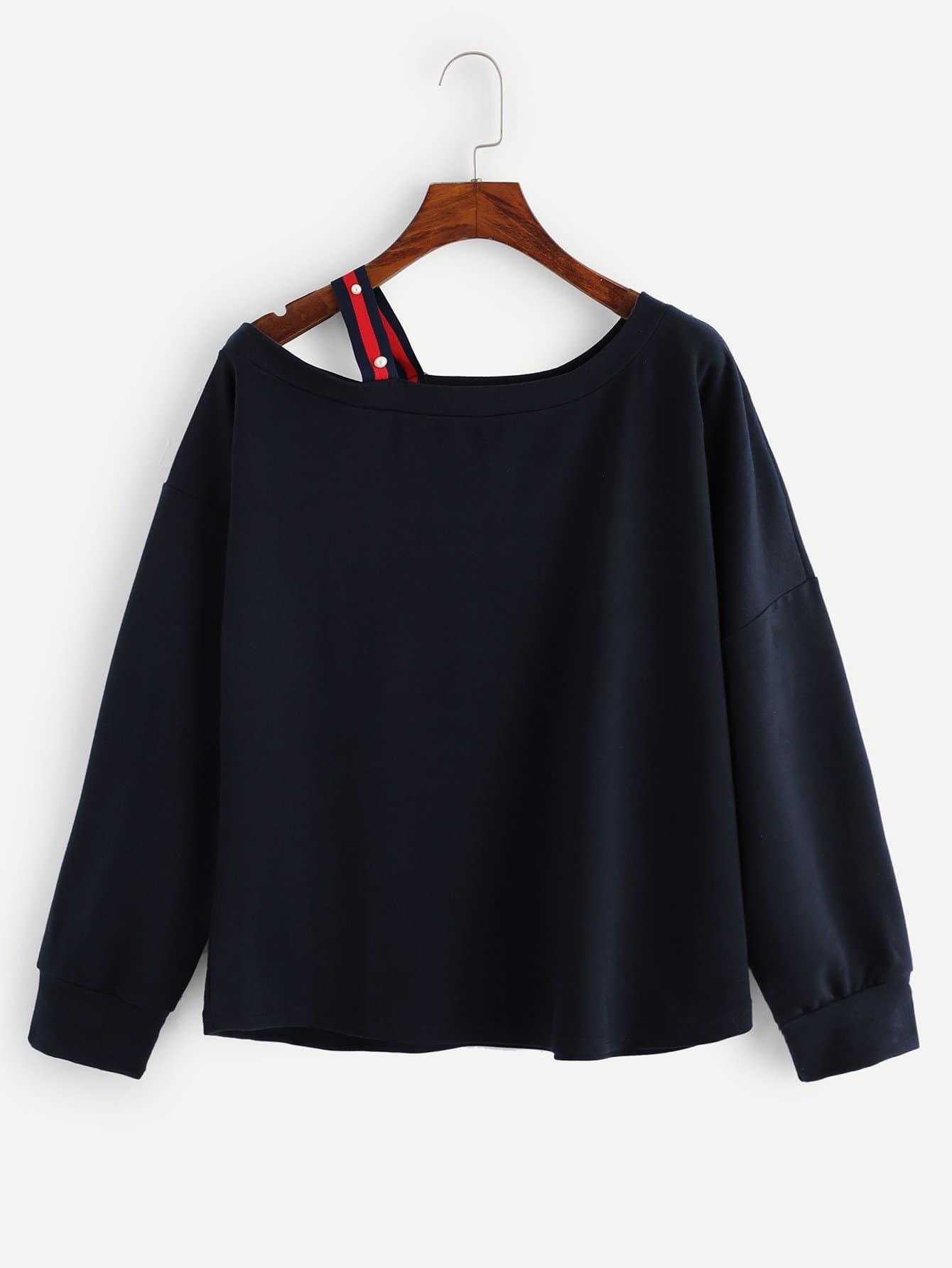Купить Повседневный Ровный цвет Открытые плечи Пуловеры Темно синий Свитшоты, null, SheIn