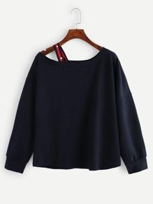 Cold Shoulder Plain Sweatshirt