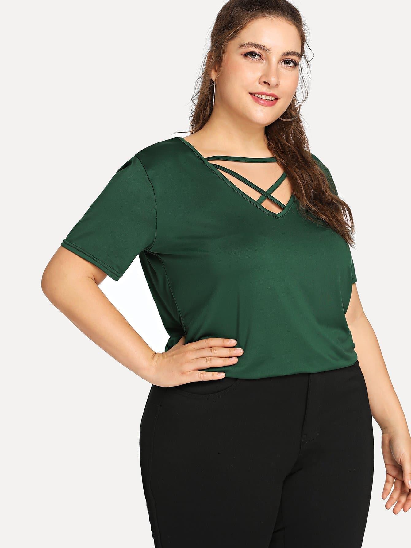 Купить Повседневные Одноцветный Крестовый дизайн Зелёные Топыразмераплюс, Franziska, SheIn
