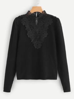 Floral Lace Applique Solid Jumper