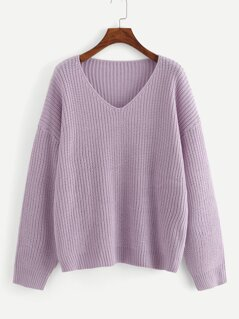 Dropped Shoulder V Neck Solid Sweater
