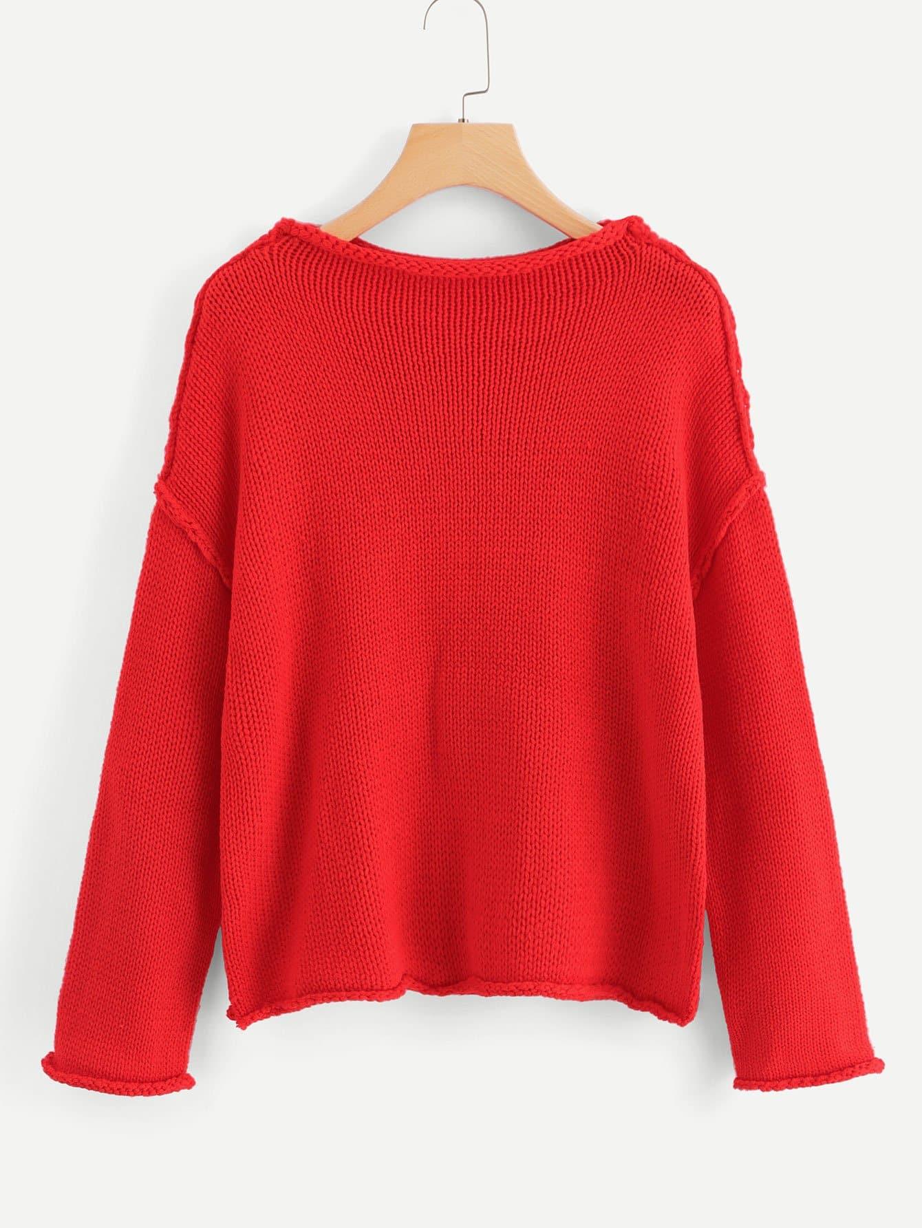 Купить Вырезать и вышивать плечевой свитер, null, SheIn