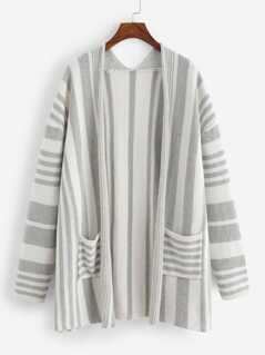 Pocket Patched Open Front Striped Jumper