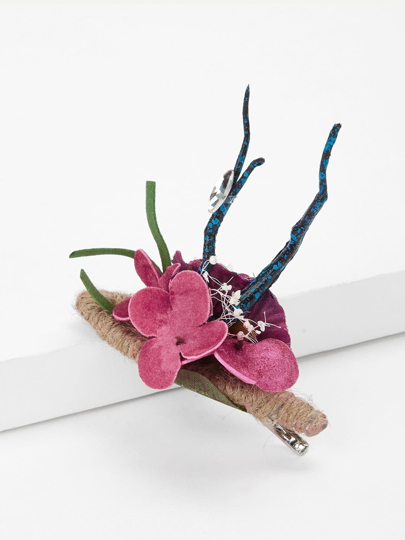 Flower Decorated Hair Clip rhinestone decorated kids hair clip 4pcs