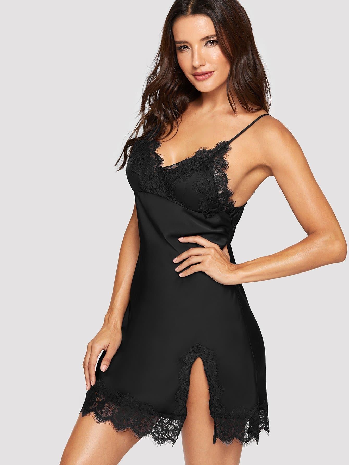 Lace Trim Split Side Cami Dress solid split hem cami dress