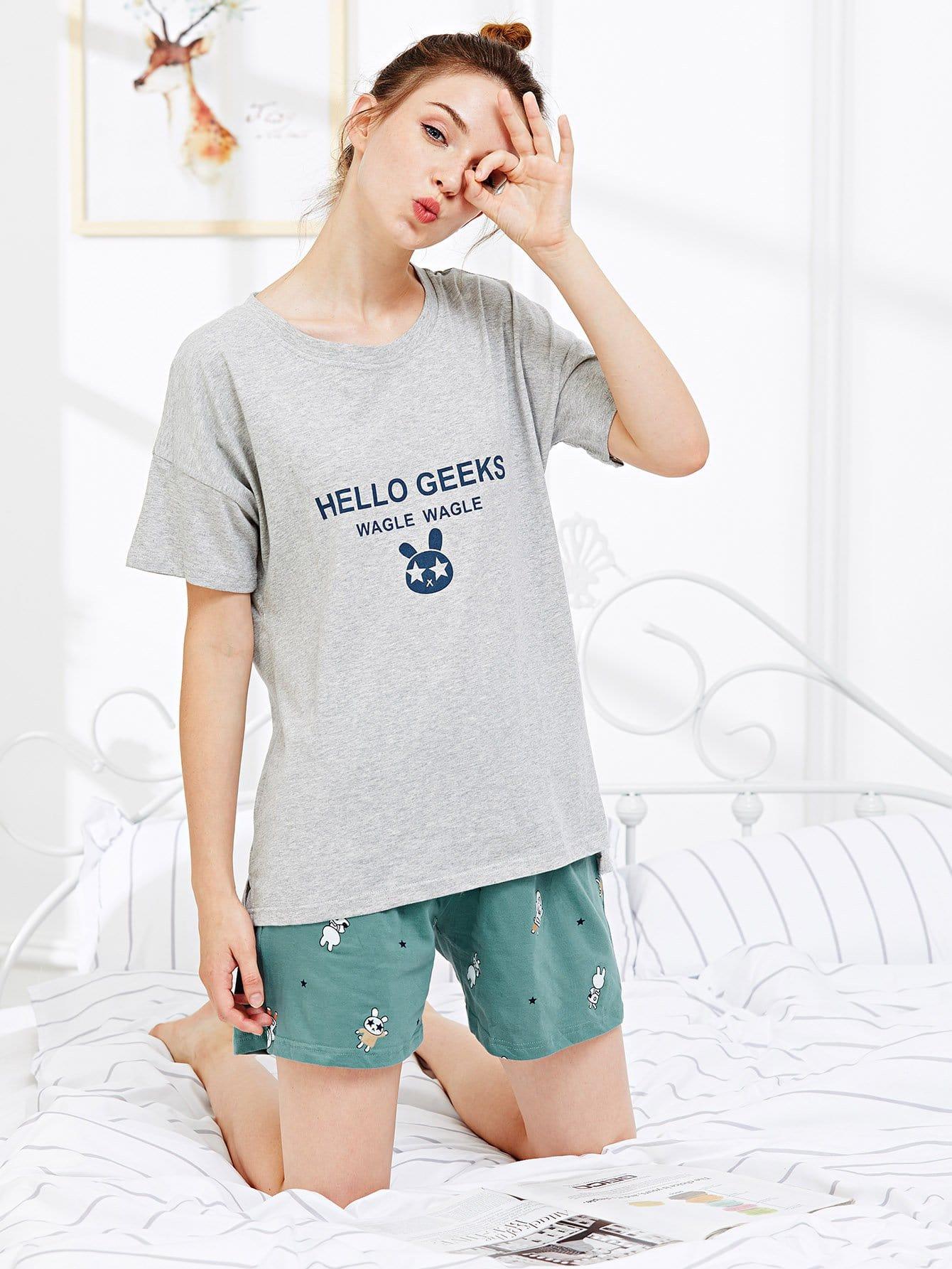 Купить Набор для пижамы для кролика и письма, null, SheIn