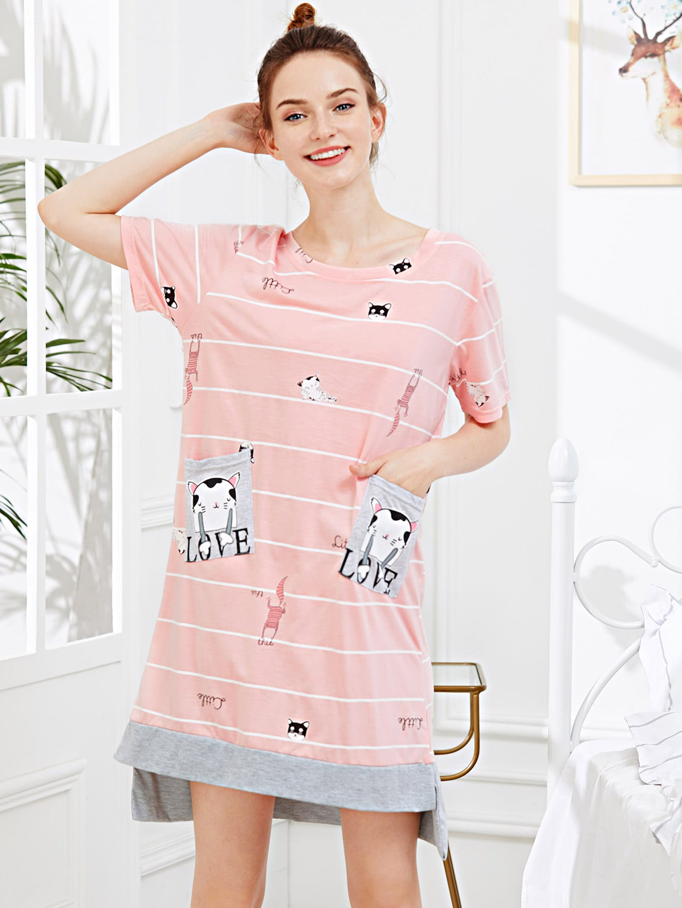 Cat Print Pocket Front Night Dress
