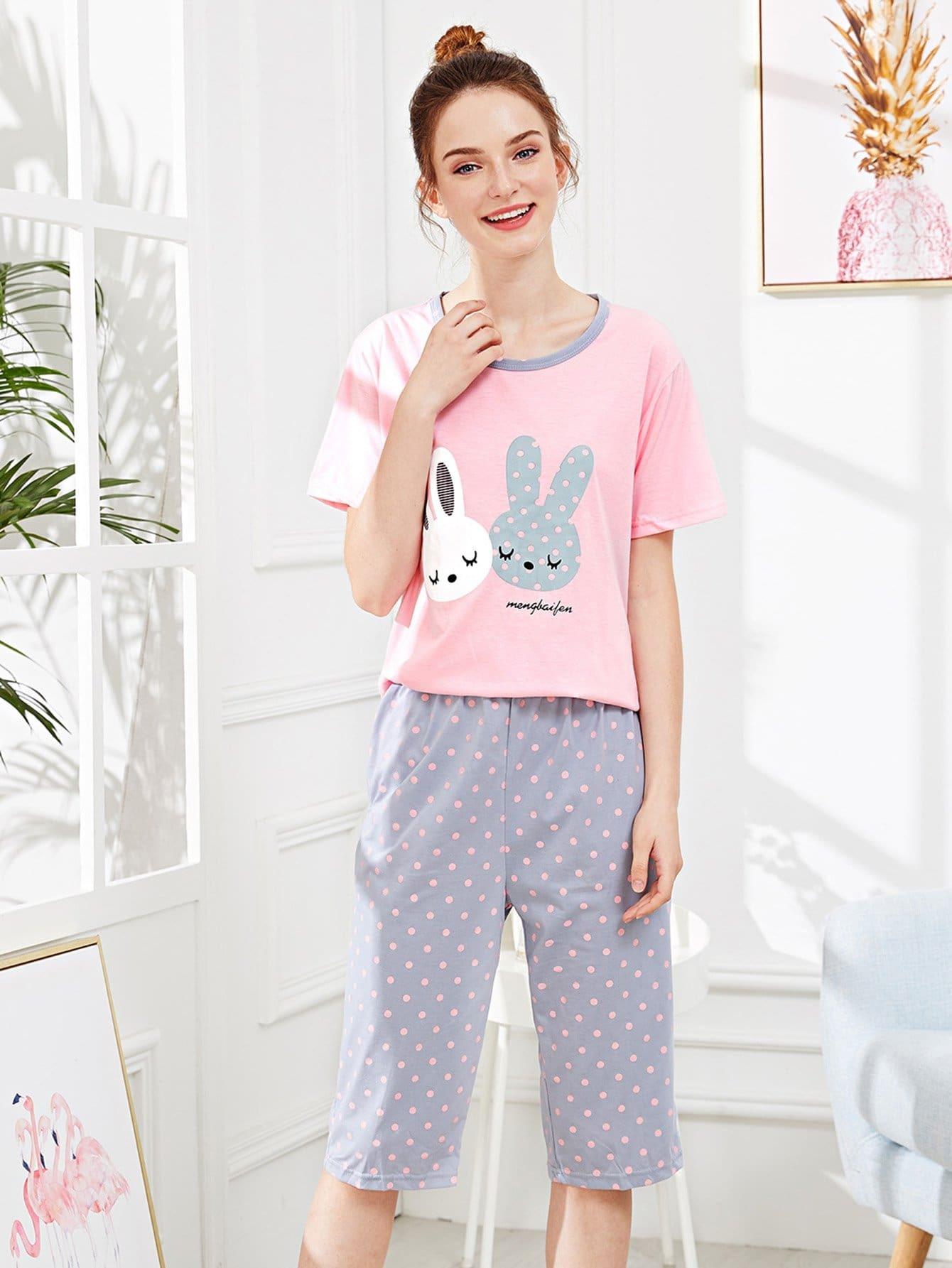 Купить Кролик Печать Polka Dot Pajama Set, null, SheIn