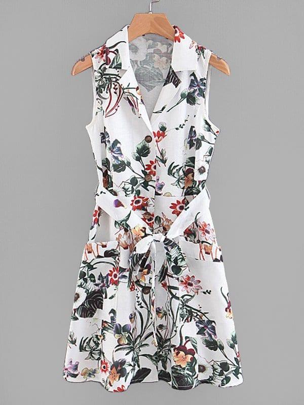Купить Платье с рисунками растений и с украшением пуговицы и поясом, null, SheIn