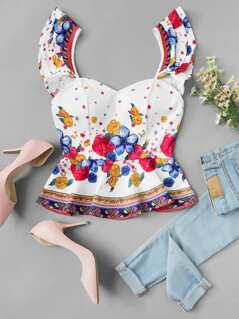 Ruffle Strap Floral Top