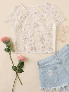 Sheer Embroidered Mesh Top