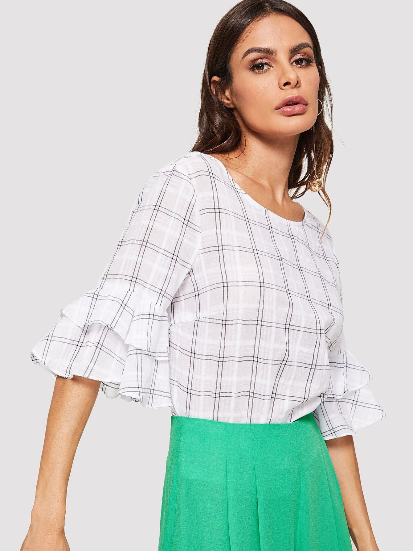 Tiered Bell Sleeve Plaid Blouse