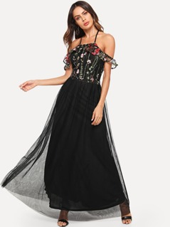 Cold Shoulder Embroidered Mesh Bodice Dress