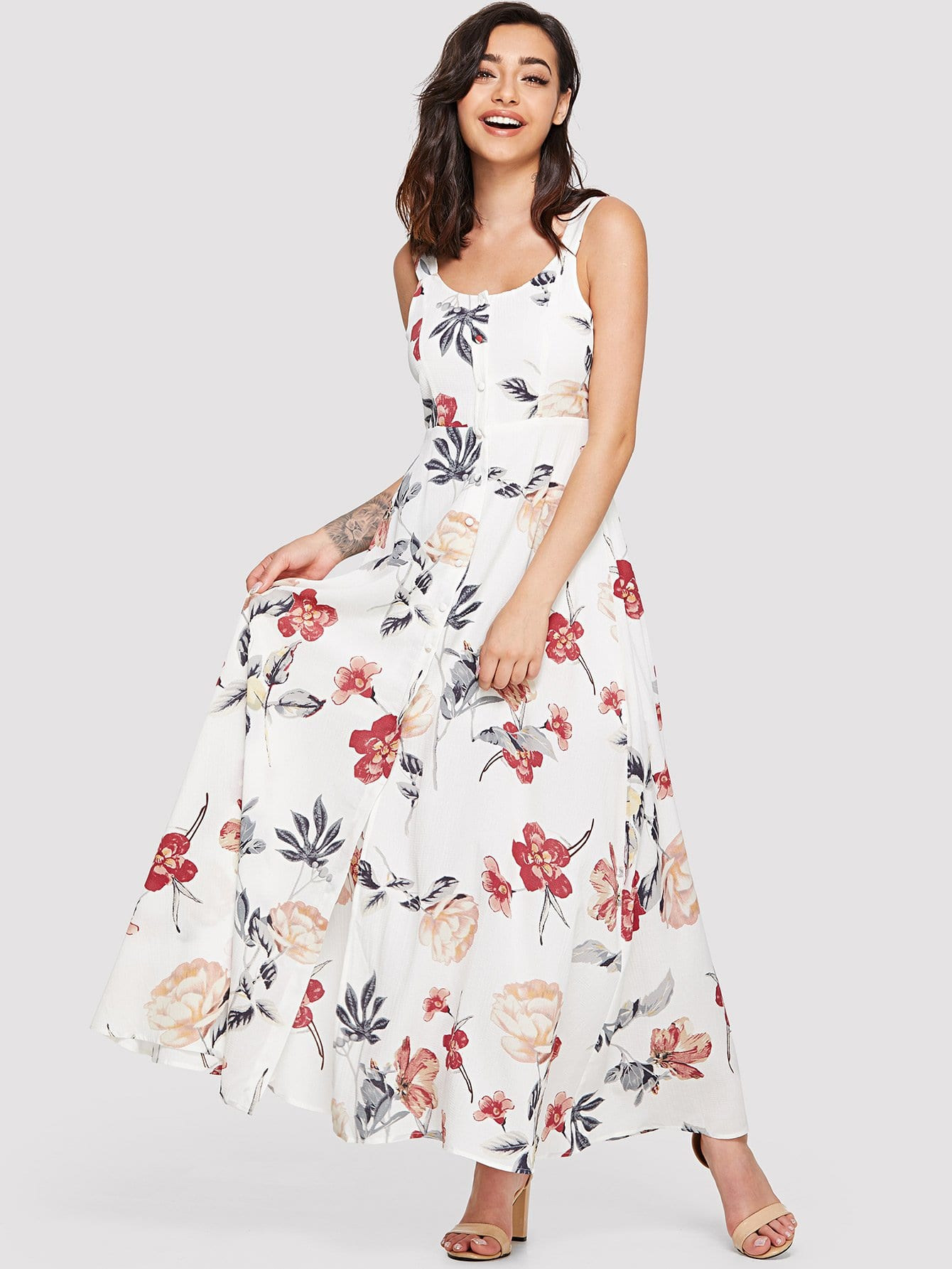 цена на Floral Print Knot Surplice Wrap Dress With Ruffle Strap
