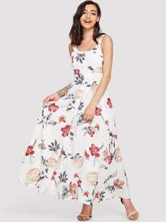 Floral Print Knot Surplice Wrap Dress With Ruffle Strap