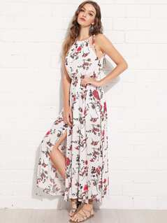 Elastic Waist Halter Neck Floral Dress