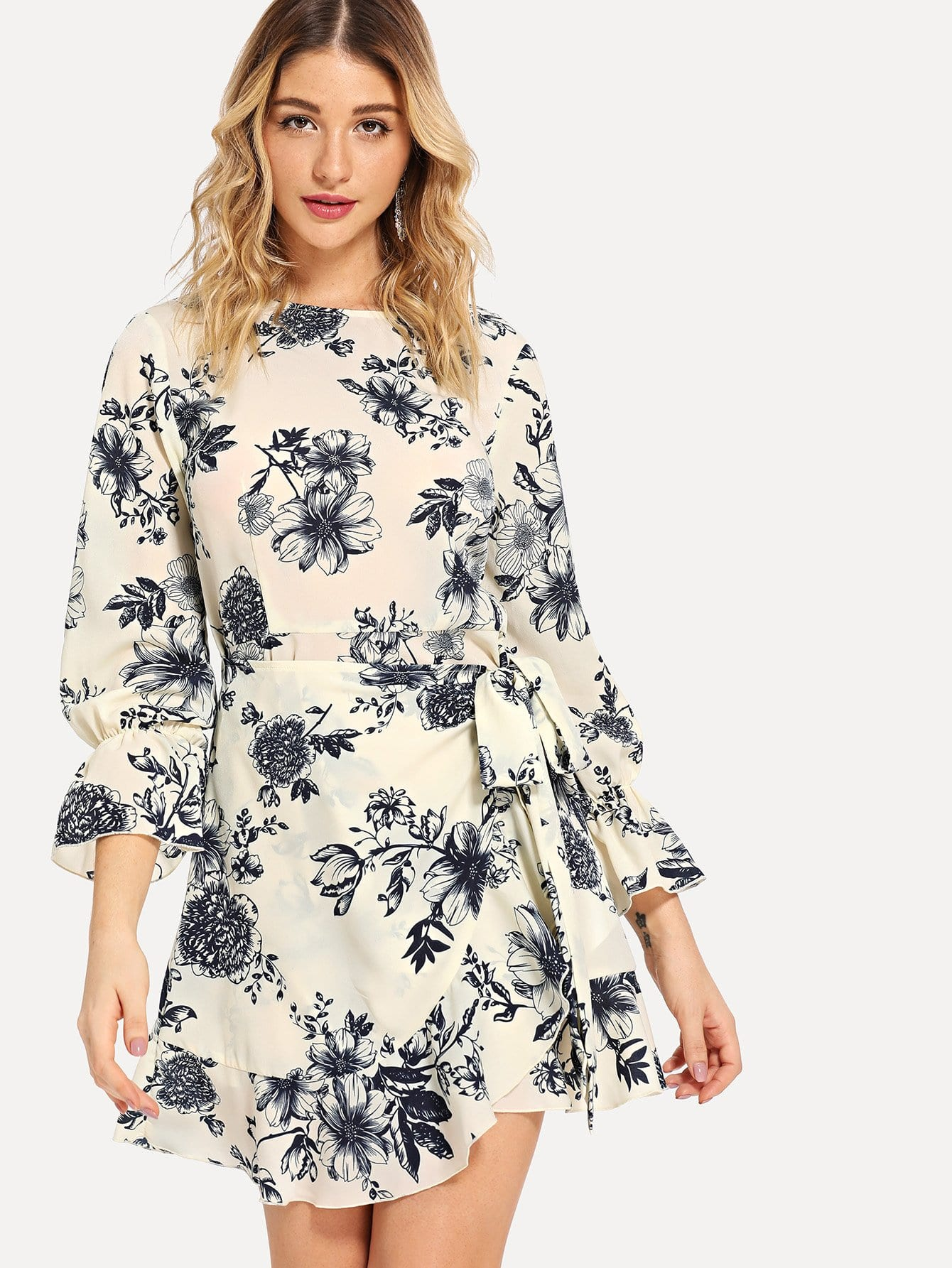 Bell Sleeve Ruffle Hem Floral Wrap Dress bohemian bell sleeve floral midi dress