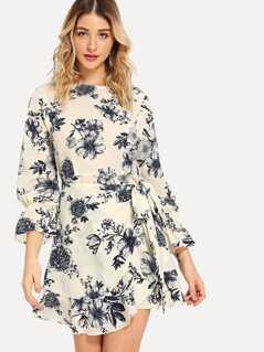 Bell Sleeve Ruffle Hem Floral Wrap Dress