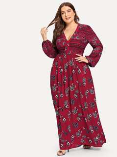 Plus Bishop Sleeve V Neck Floral Dress