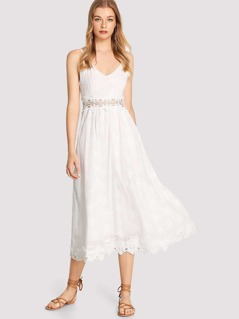 Lace Insert Embroidered Cami Dress