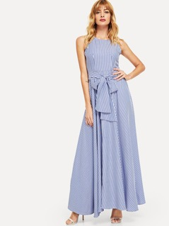 Waist Knot Striped Shell Dress