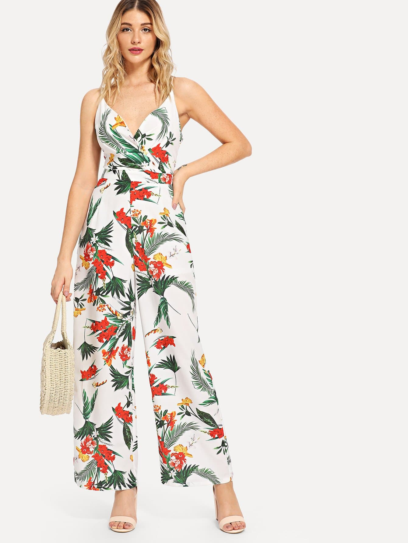 Купить Wrap Tropical Print Cami Комбинезон, Nathane, SheIn