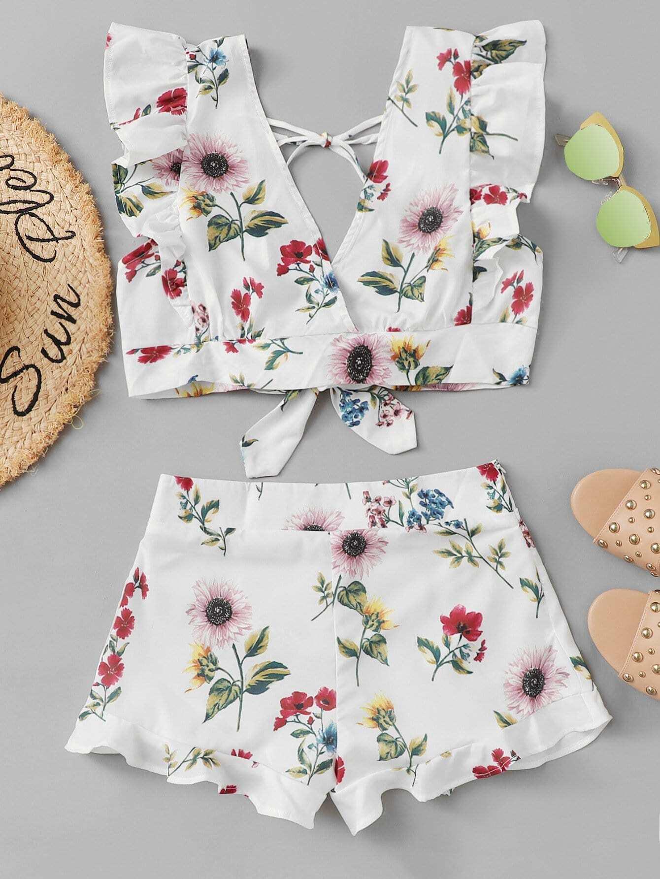 Ruffle Hem Botanical Shorts ruffle hem solid shorts