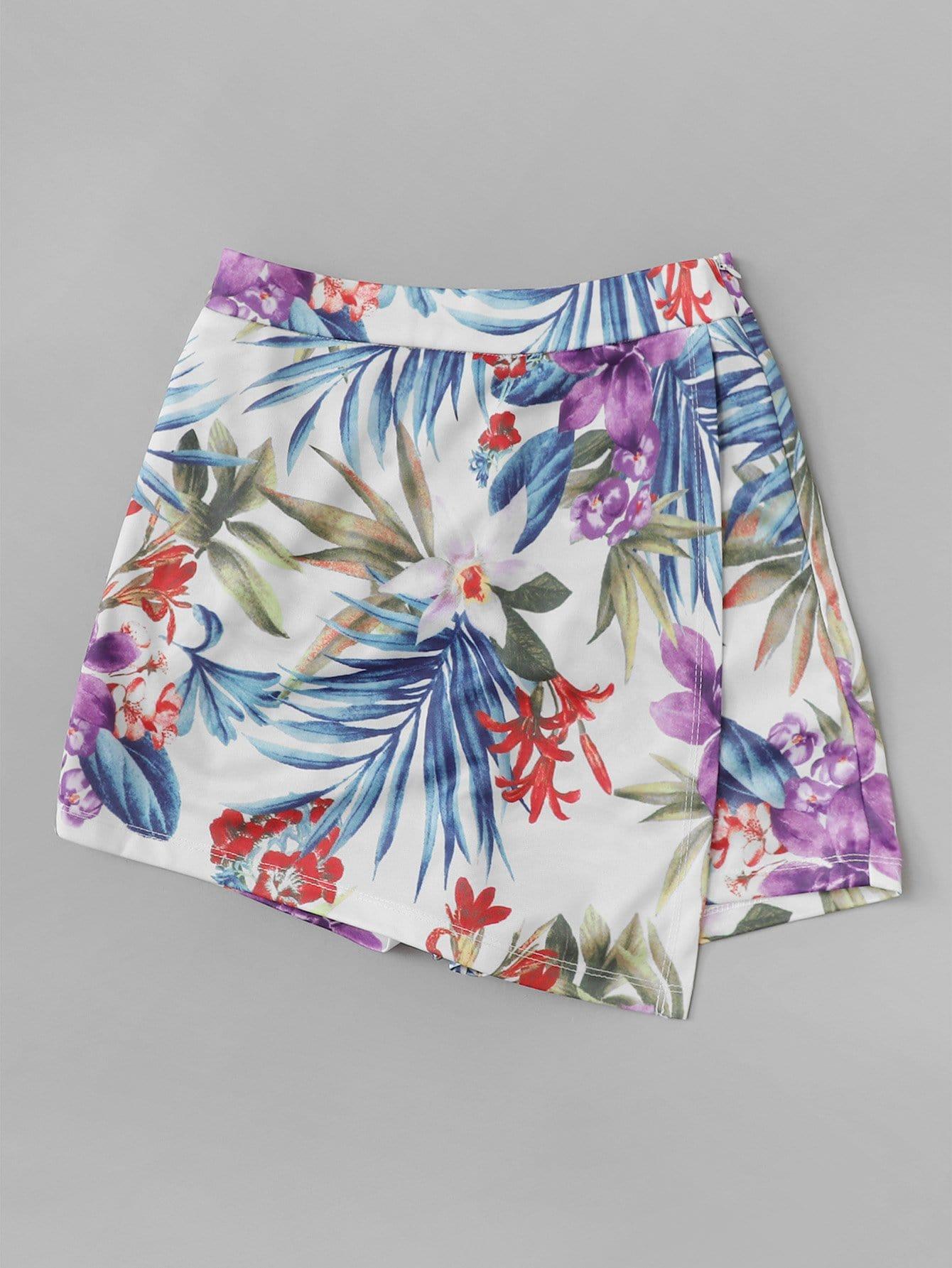 Купить Шорты юбка с принтом тропики, null, SheIn