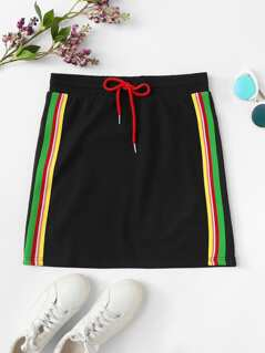 Contrast Striped Side Drawstring Waist Skirt