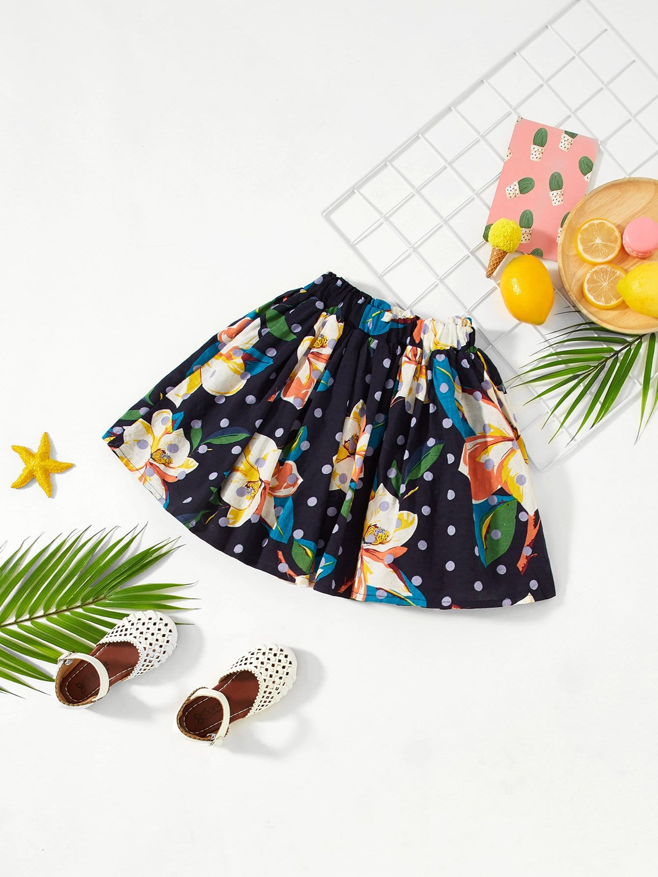 Девушки Dot And Flower Print Flare Skirt