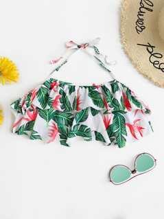 Jungle Leaf Print Halter Swimming Top