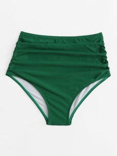 High Waist Solid Ruched Swimming Pantie