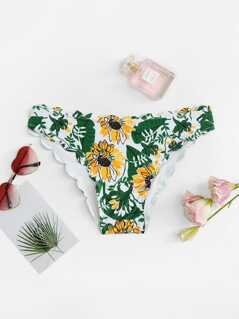 Floral Print Scalloped Trim Swimming Panty
