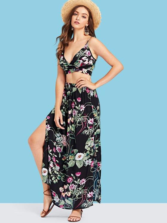 ff3111b48529af Botanical Print Surplice Wrap Crop Top and Skirt Set