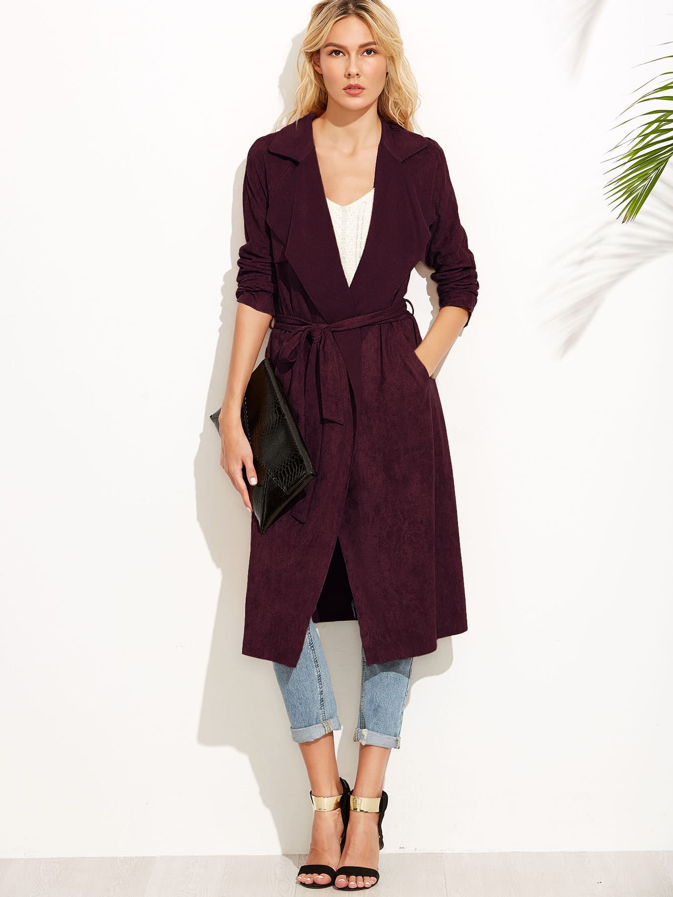 Купить Коричневый Suede Self Tie Duster Coat, null, SheIn