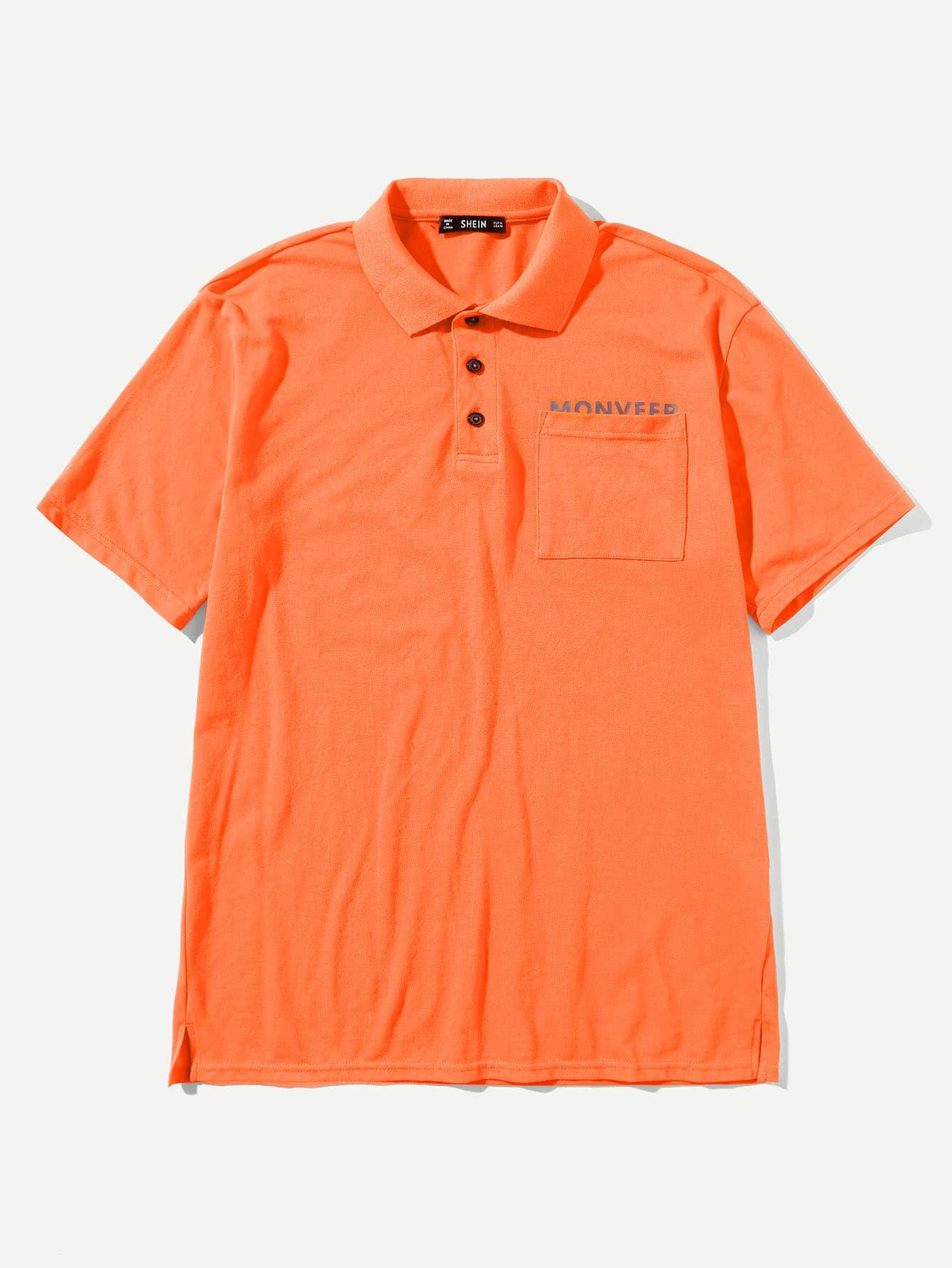 Купить Мужская карманная полосатая рубашка-поло, null, SheIn
