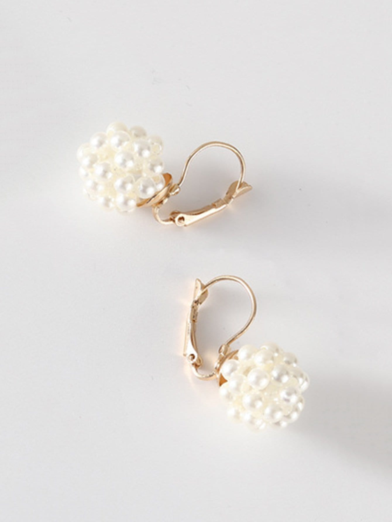 Faux Pearl Ball Clip On Earrings