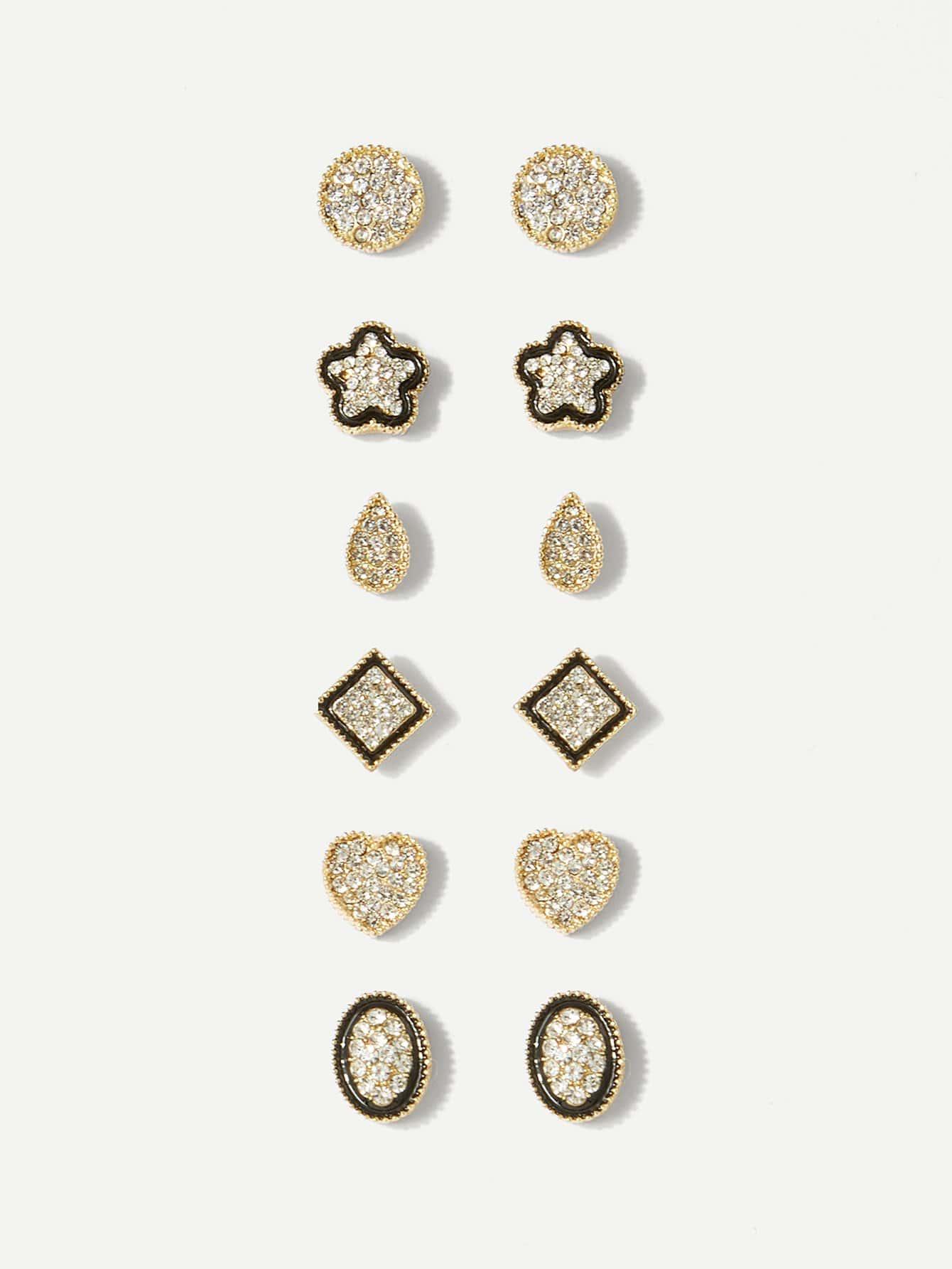 Rhinestone Heart & Flower Stud Earrings 6pairs