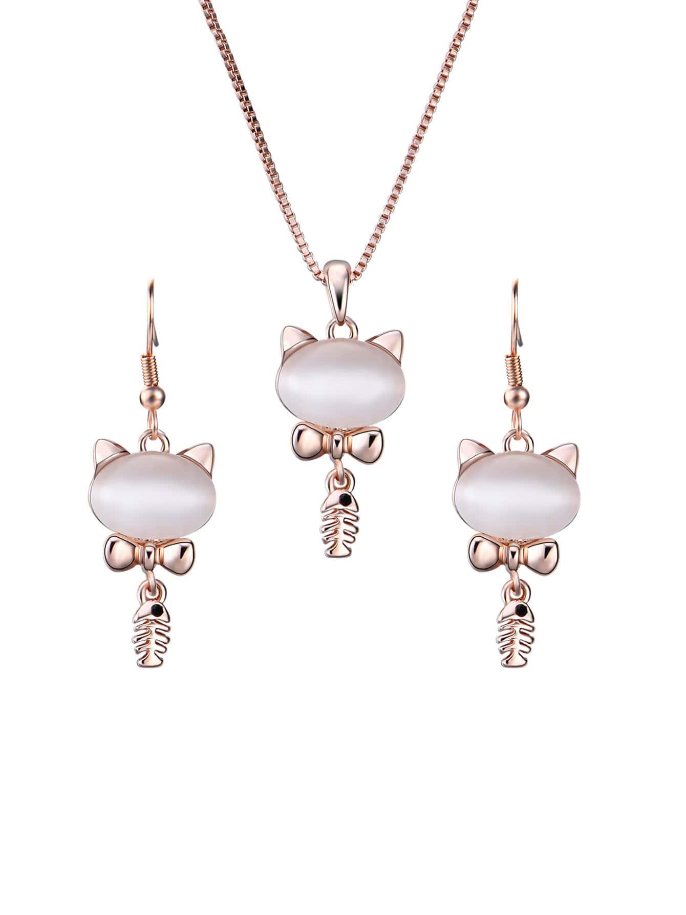 Katze Anhänger Halskette & Ohrringe Set